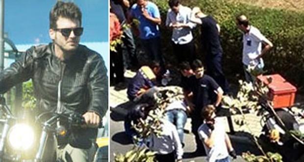 مهند يتعرض لحادث سير مروع على درّاجته النارية والإسعاف ينقذه