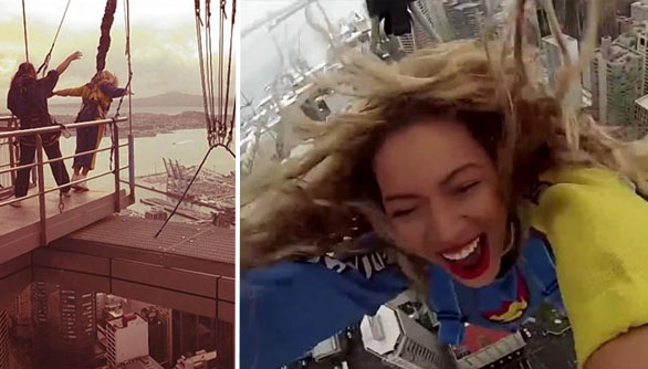 """بالفيديو: بيونسي قفذت من على أكثر من 190 متر وقالت """"هذا رائع"""""""