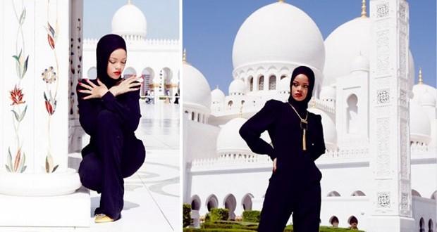 بالصور: Rihanna محجّبة أمام مسجد الشيخ زايد