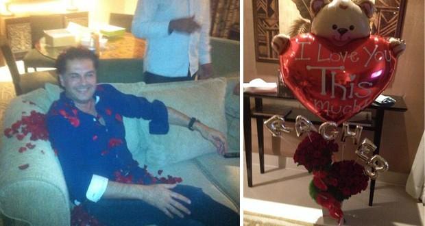 بالصور: راغب علامة يتلقّى هدية من واحدة من معجباته ويستحم بالورود