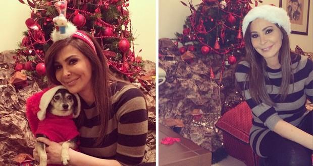بالصور: إليسا أمضت أجمل أمسيات عيد الميلاد مع أسرتها