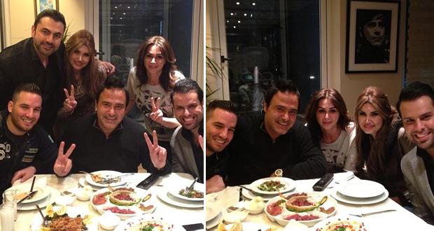 بالصور: عاصي الحلاني على العشاء في منزله مع محمد كريم وفريقه