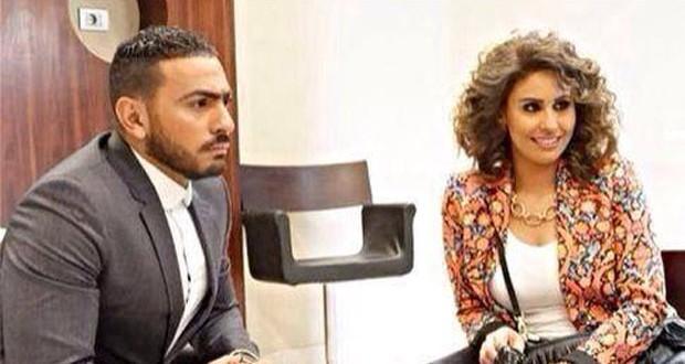 """بالصورة: لقطة عفوية بين تامر حسني ومي سليم في """"فرق توقيت"""""""