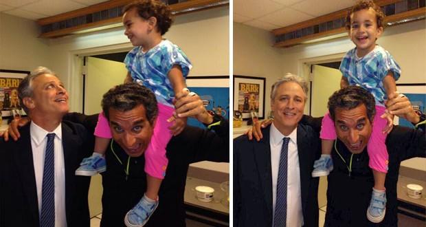 بالصور: باسم يوسف مع إبنته وجون ستيوارت في لقطات عفويّة