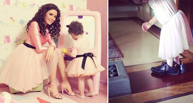 سيرين عبد النور تنشر صورة عفويّة لإبنتها وتاليّا تتنقل بحذاء والدها في المنزل