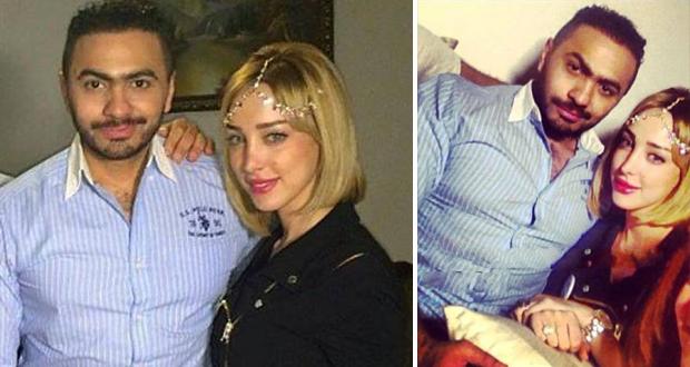 أولاً بالصور: تامر حسني مع زوجته بسمة في عيد ميلاد إبنتهما تاليا