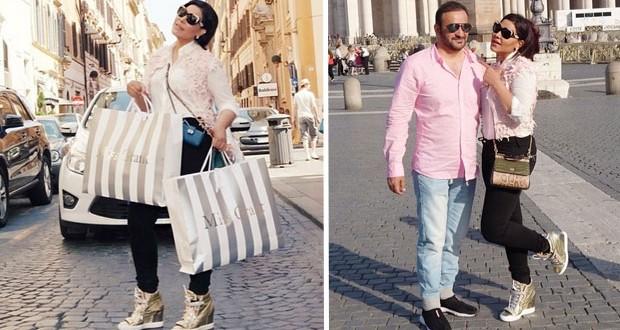 بالصور: أحلام تسرق الأنظار وتفيض أناقة مع زوجها مبارك الهاجري في روما