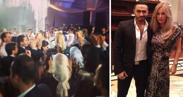 بالصور: تامر حسني ونيكول سابا أشعلا أجمل الأفراح في القاهرة