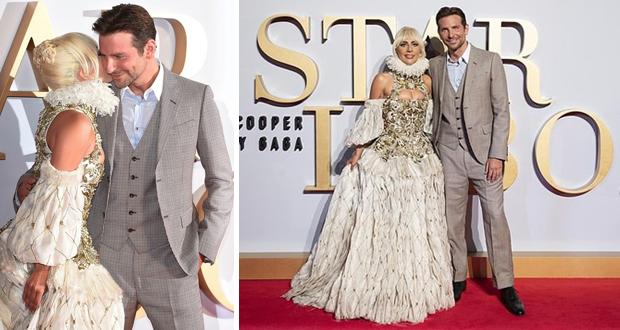 ليدي جاجا تقبّل برادلي كوبر في افتتاح فيلم A Star Is Born – بالصور