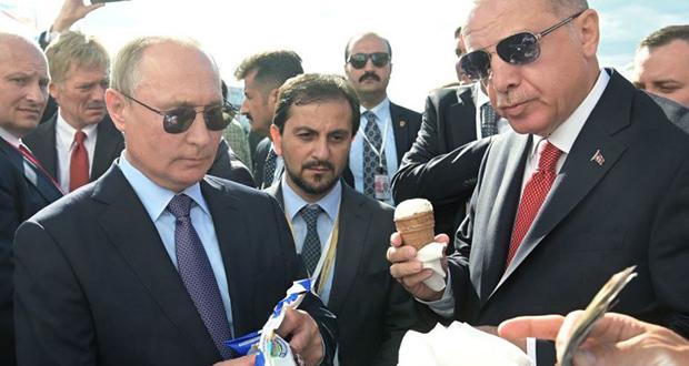 بوتين وأردوغان يتناولان الآيس كريم.. من دفع الحساب؟