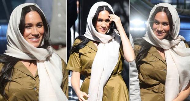 ميغان ماركل ترتدي الحجاب أثناء سفرها مع الأمير هاري