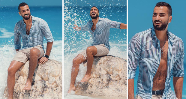 محمد الشرنوبي في جلسة تصوير جديدة على شاطئ البحر