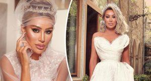 إطلالة مذهلة لـ مايا دياب في فستان الزفاف